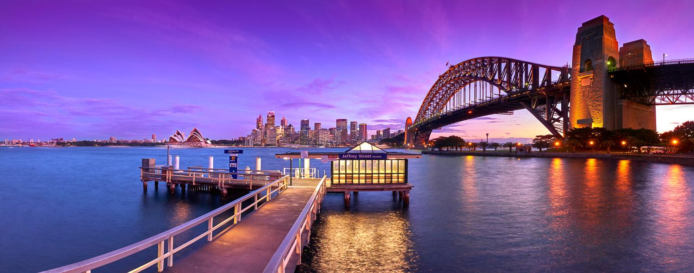 Pastel twilight over Sydney harbour, NSW, Australia.