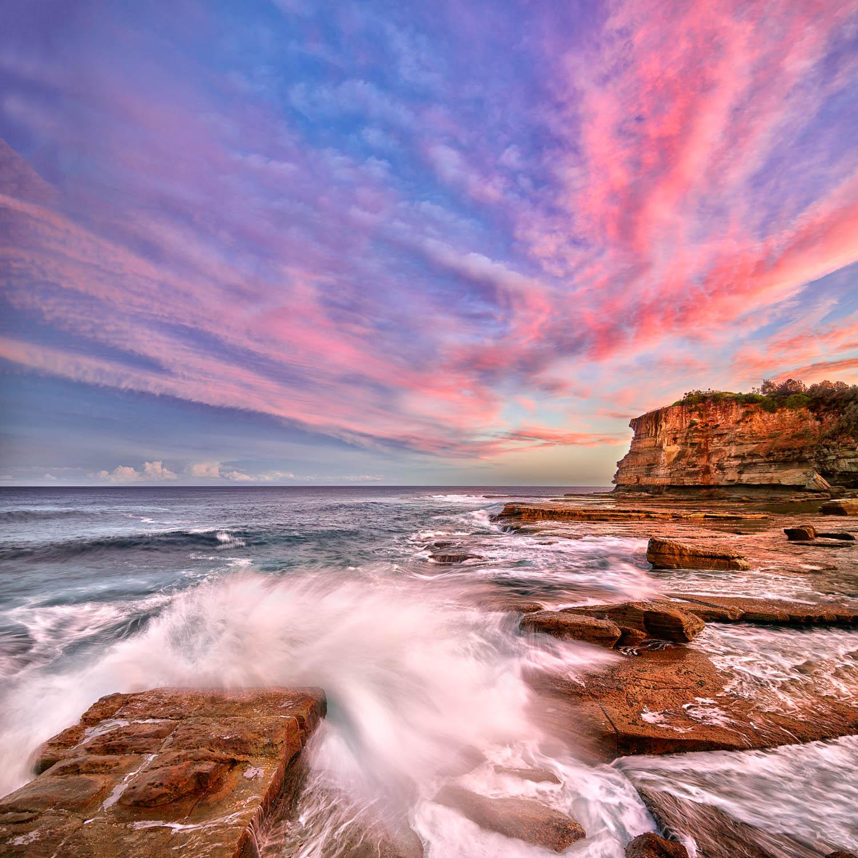 Pastel sunset over The Skillion, Terrigal, NSW.