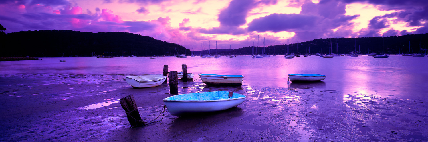 Dinghies moored at Bayview, NSW, Australia.