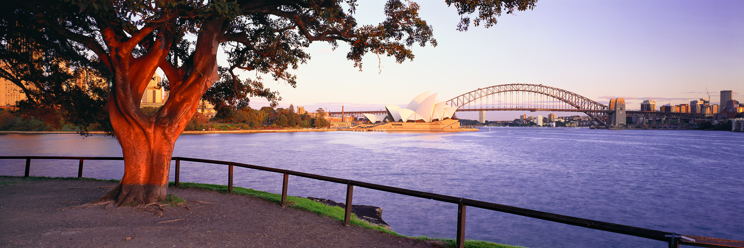 View of Sydney Harbour Bridge and Opera House from Mrs Macquarie's Chair, Sydney, NSW, Australia.