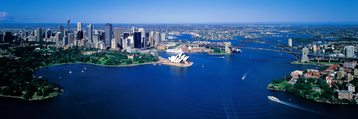 An aerial view of Sydney Harbour, NSW, Australia.