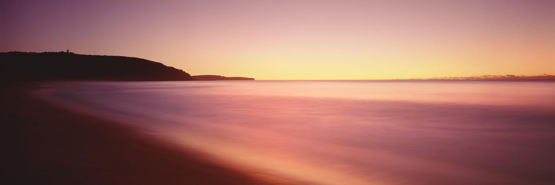 Red sunrise over Barrenjoey lighthouse, Palm Beach, Sydney, NSW, Australia.