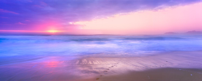A pastel sunrise over Terrigal Beach, NSW, Australia.