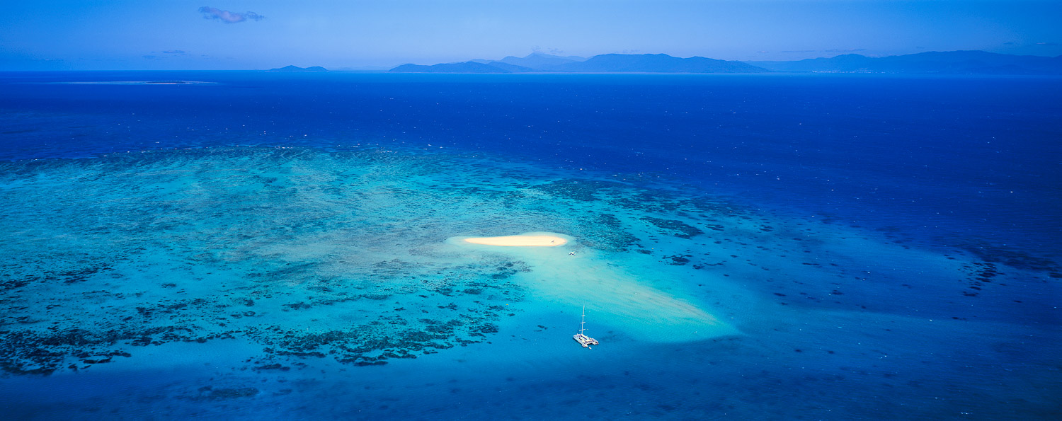 An aerial view of Upolu Cay, Whitsundays, Qld, Australia.