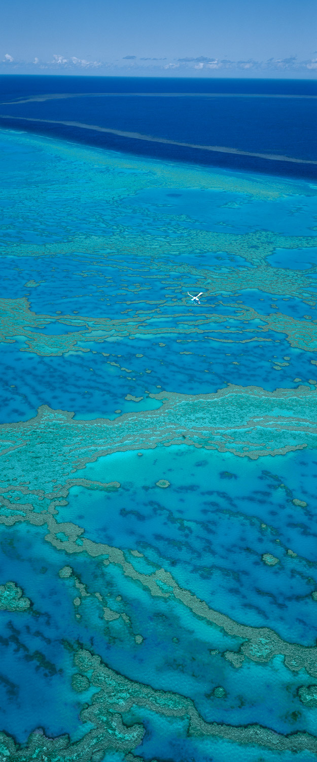 An aerial view of the Great Barrier Reef, Qld, Australia.