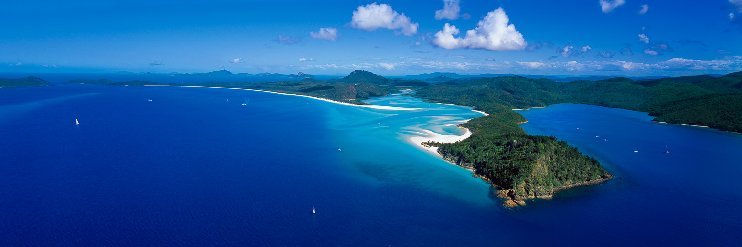 An aerial view of Hill Inlet and Whitehaven Beach, Whitsunday Islands, Qld, Australia.