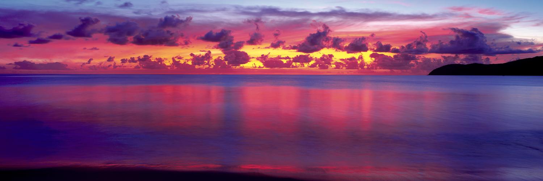 A rich and dramatic sunrise over the far north Queensland coastline, Australia.