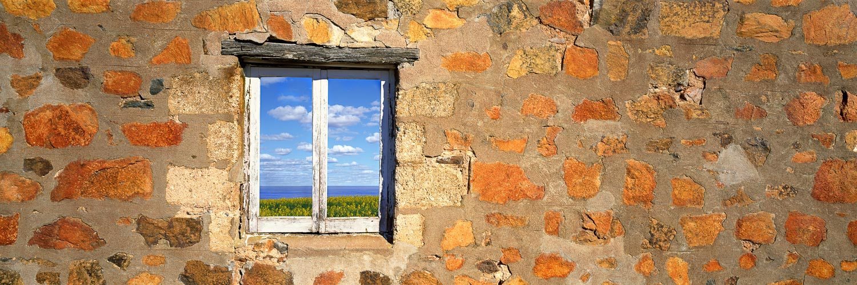 A field of canola flowers seen through the window of an abandoned homestead, SA, Australia.