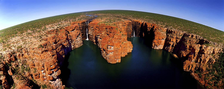 Aerial view of King George Falls, Kimberleys, WA, Australia.