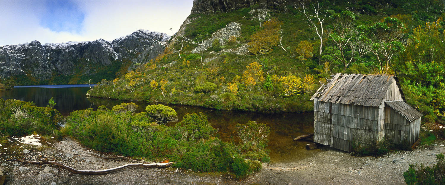 Boat shed on Crater Lake in Cradle Mountain National Park, Tasmania, Australia.