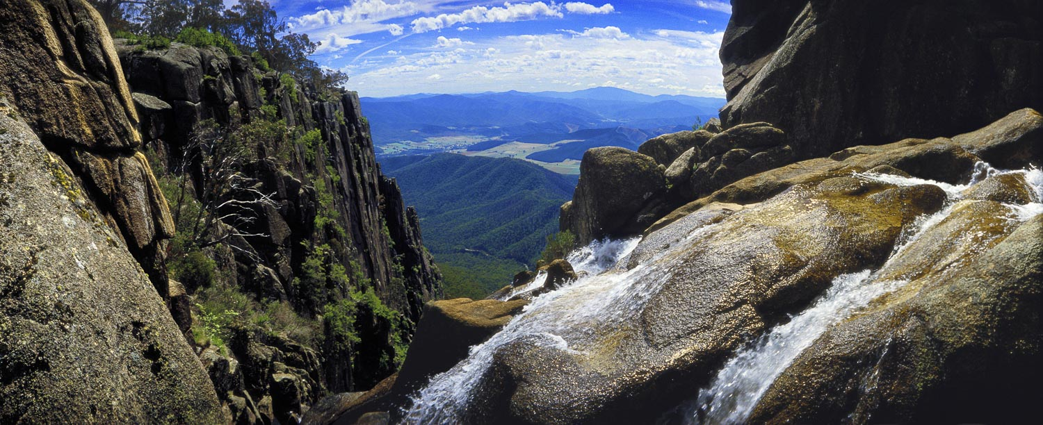 View from the top of Crystal Brook Falls, Mount Buffalo, Victoria, Australia.