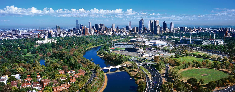 An aerial view of Melbourne, Victoria, Australia.