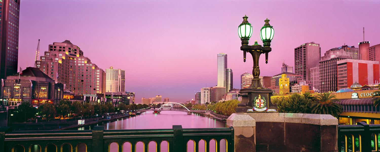 A romantic sunset over the Yarra River, Melbourne, Victoria, Australia.