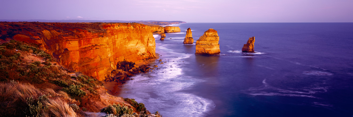 The Twelve Apostles, burnished by the glow of the setting sun, Victoria, Australia.