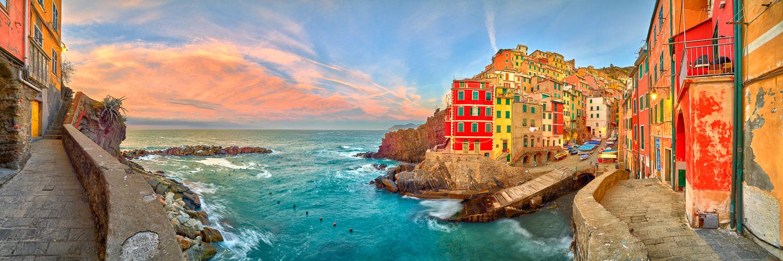 A peaceful, pastel sunrise in Riomaggiore, Cinque Terra, Italy.