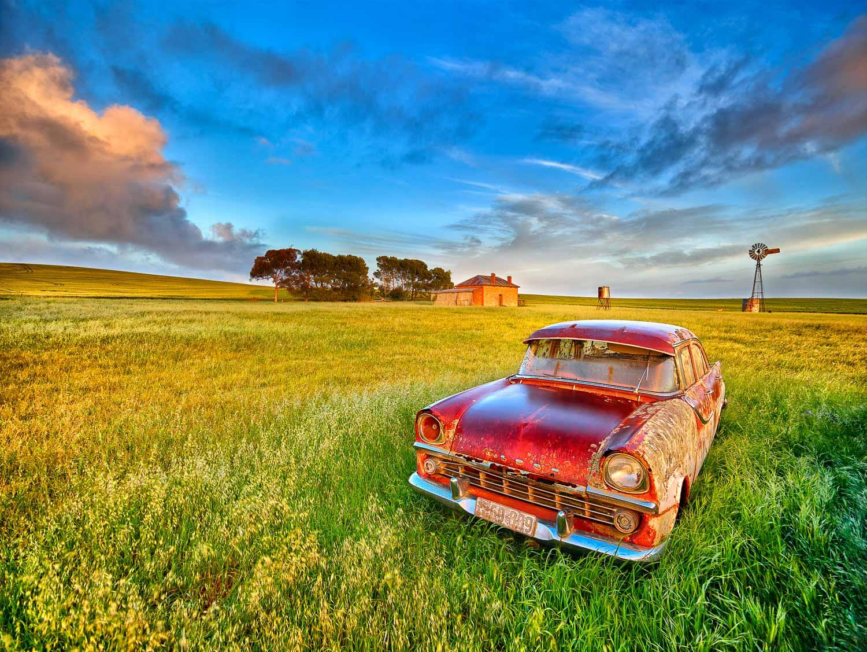 Old FB Holden Sedan in a paddock near the Flinders Ranges, South Australia.