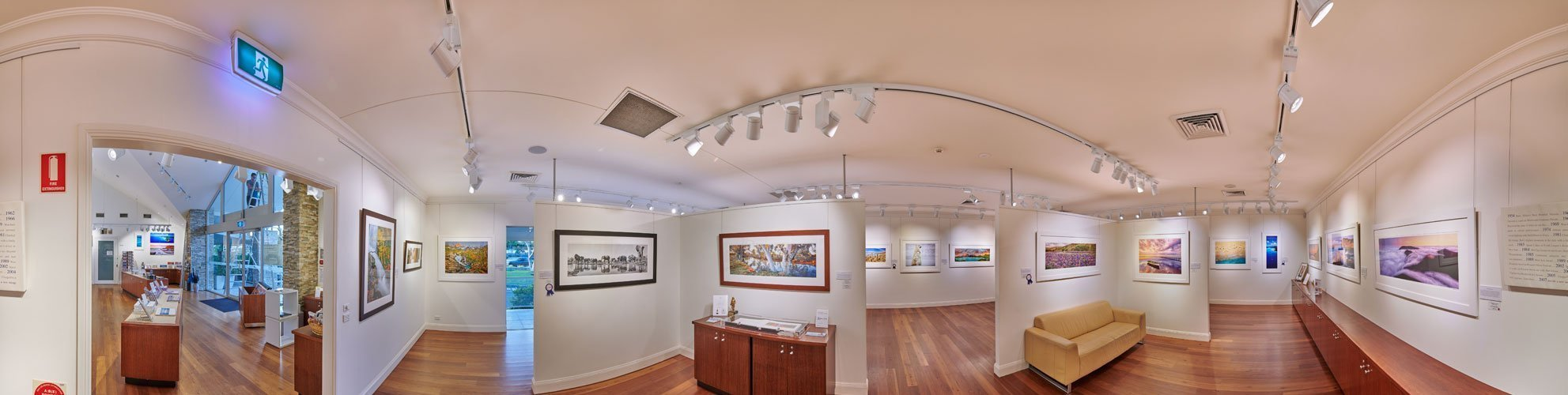 A full panoramic internal image of The Ken Duncan Gallery. Bright stunning colours.