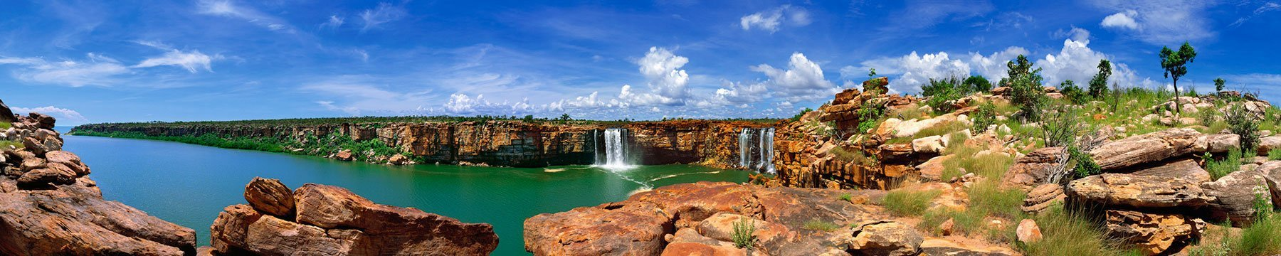A 220 degree view of Glycosmis Falls, Kimberleys, WA, Australia.