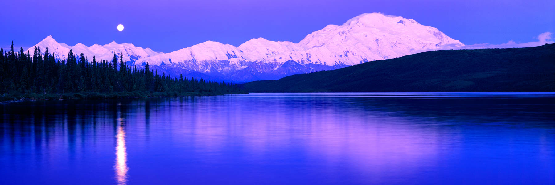 Full moon over Wonder Lake, Denali National Park, Alaska, USA