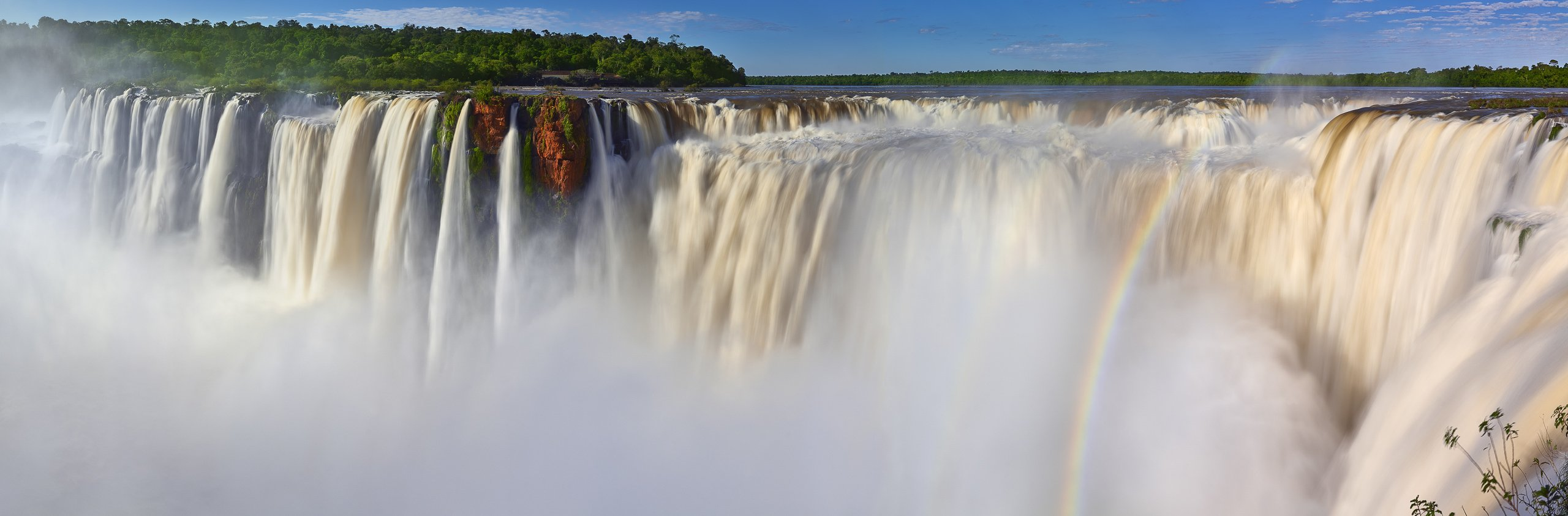 A rainbow at the base of Iguazu Falls, Argentina.