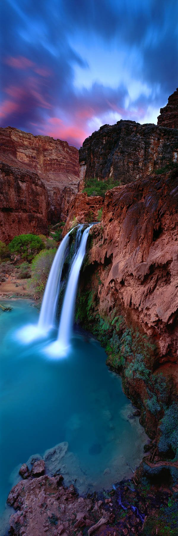 Twilight over Havasu Falls, Grand Canyon, Arizona, USA.