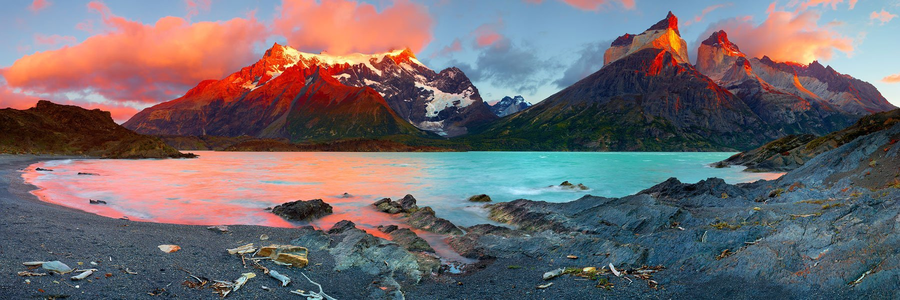A fiery sunrise over Torres Del Paine, Patagonia, Chile.
