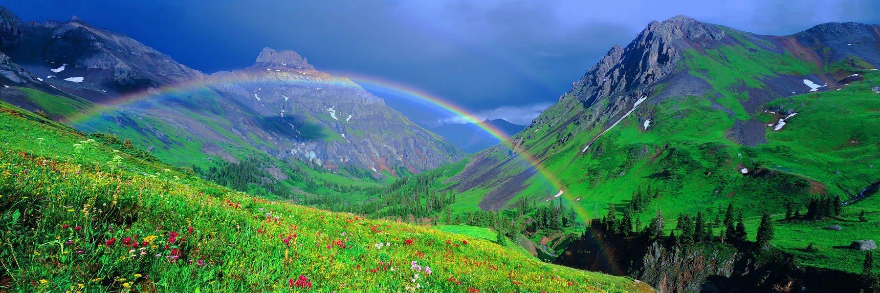 A double rainbow over the mountains near Vale, Colorado, USA.