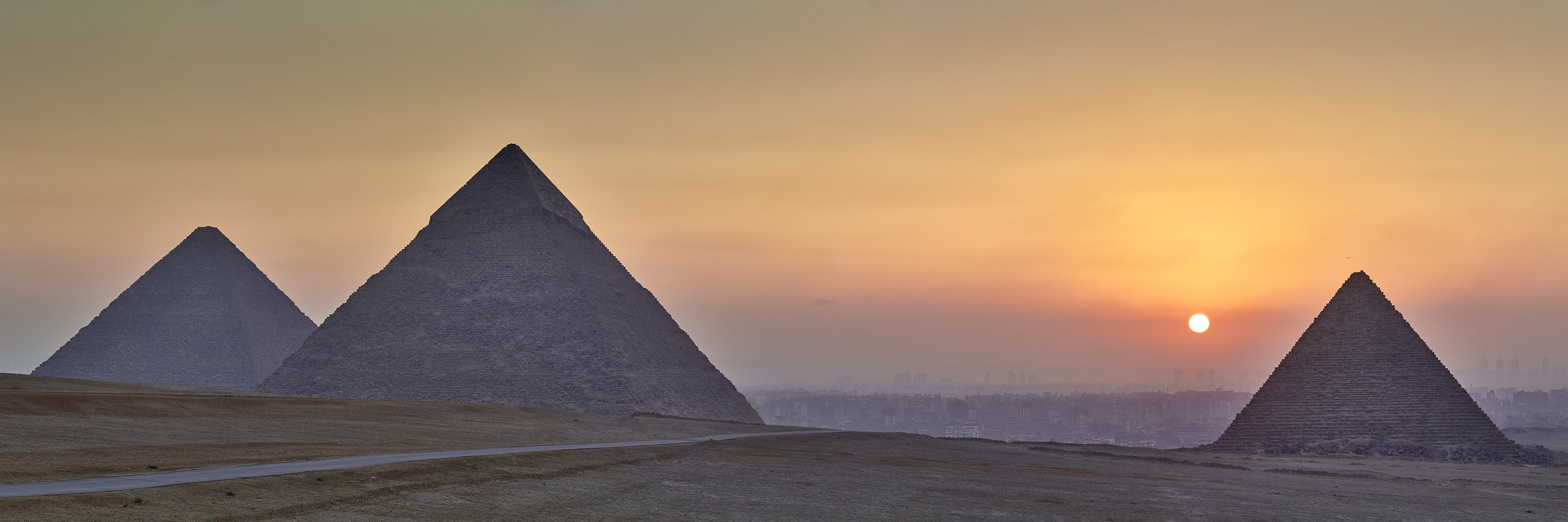 The great pyraminds of Giza, Egypt.
