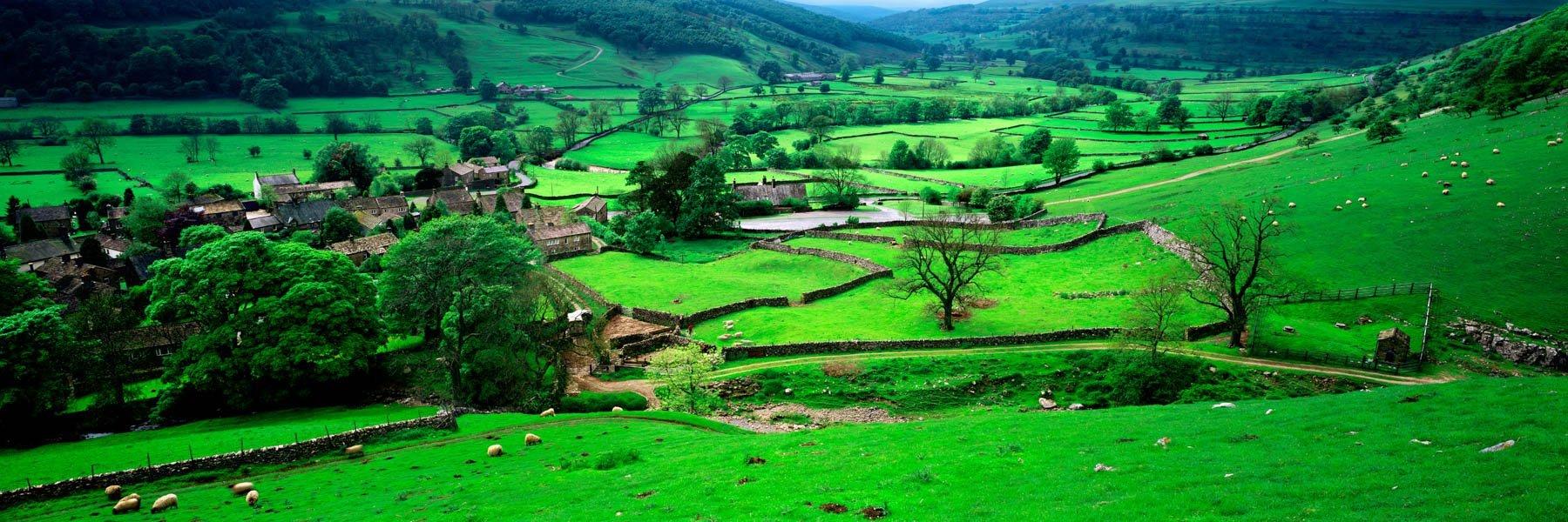 Sheep farms in the quaint English village of Buckden, Yorkshore, UK.