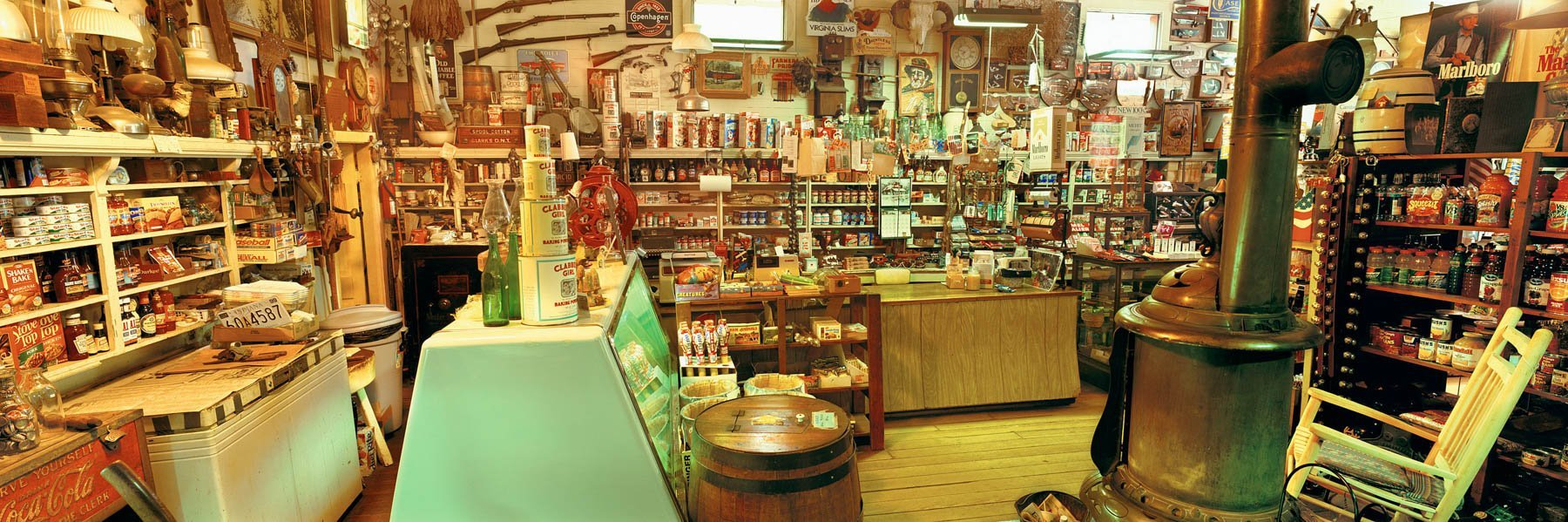 Shelves lined with a vast array of goods in a general store in Indiana, USA.