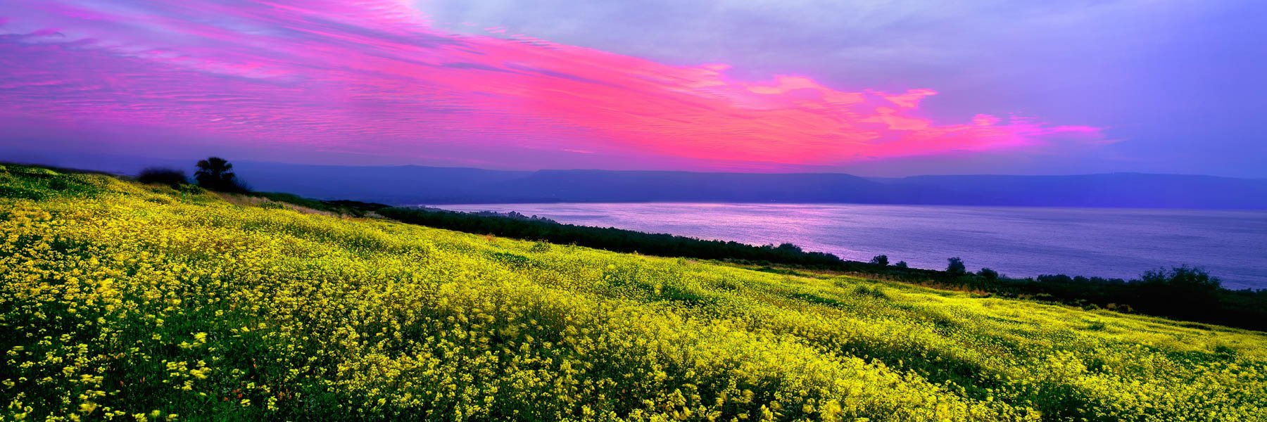 Sunset over the Mount of Beatitudes, Sea of Galilee, Israel.