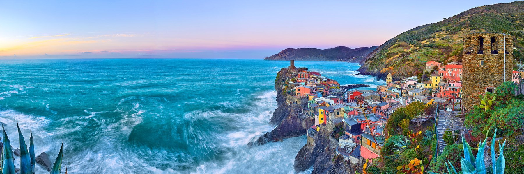 The picturesque town of Vernazza at sunset, Cinque Terra, Italy.