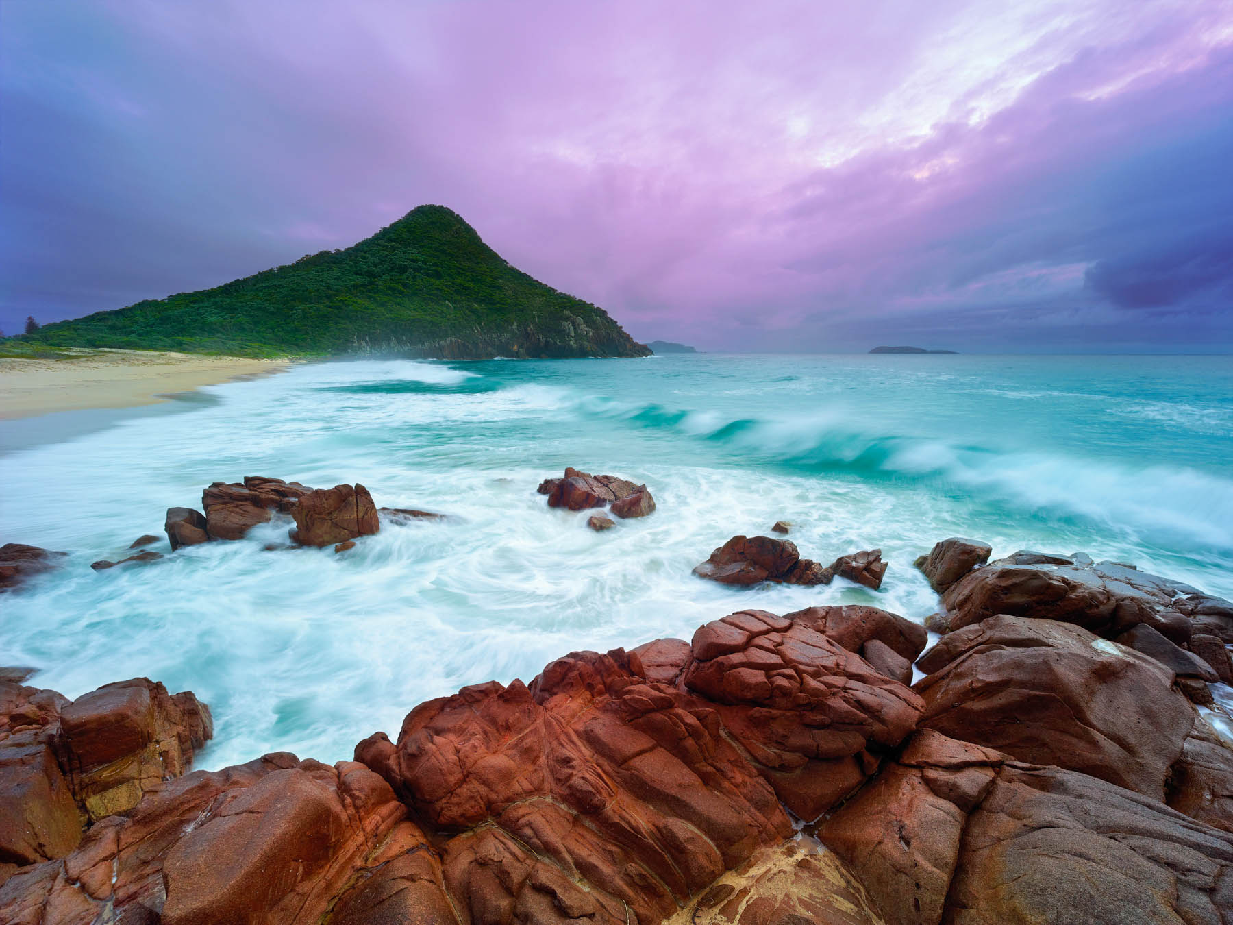 A stormy afternoon at Zenith Beach, Port Stephens, NSW, Australia.