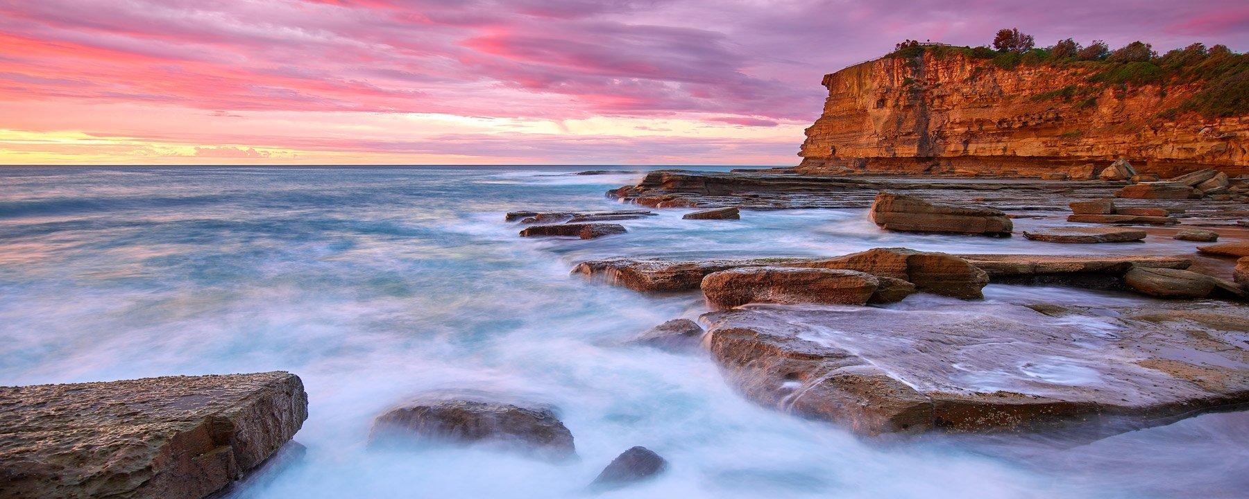 A pastel sunrise over the Skillion, Terrigal, NSW, Australia.