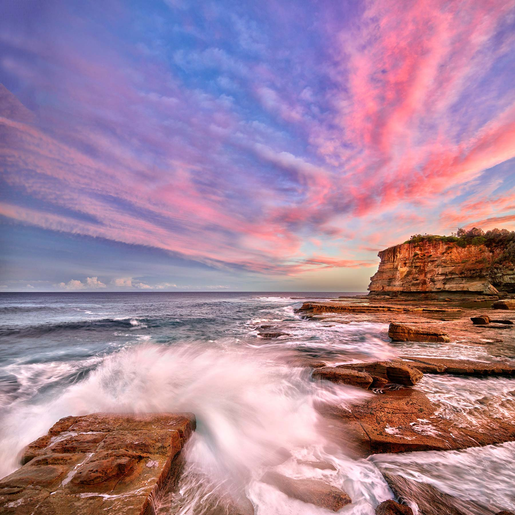 Pastel sunset over The Skillion, Terrigal, NSW.