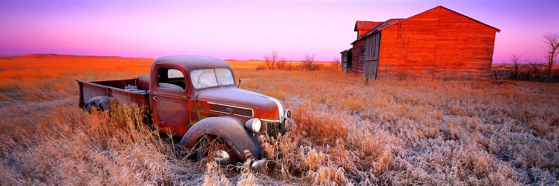 An old abandoned pickup up truck in a paddock, North Dakota, USA.