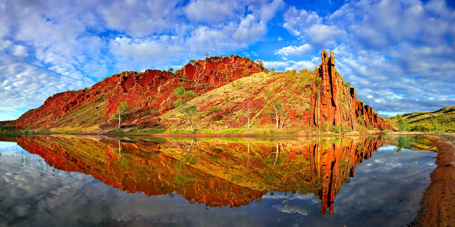 Perfect reflections of the Organ Pipes in Glen Helen Gorge, NT, Australia.
