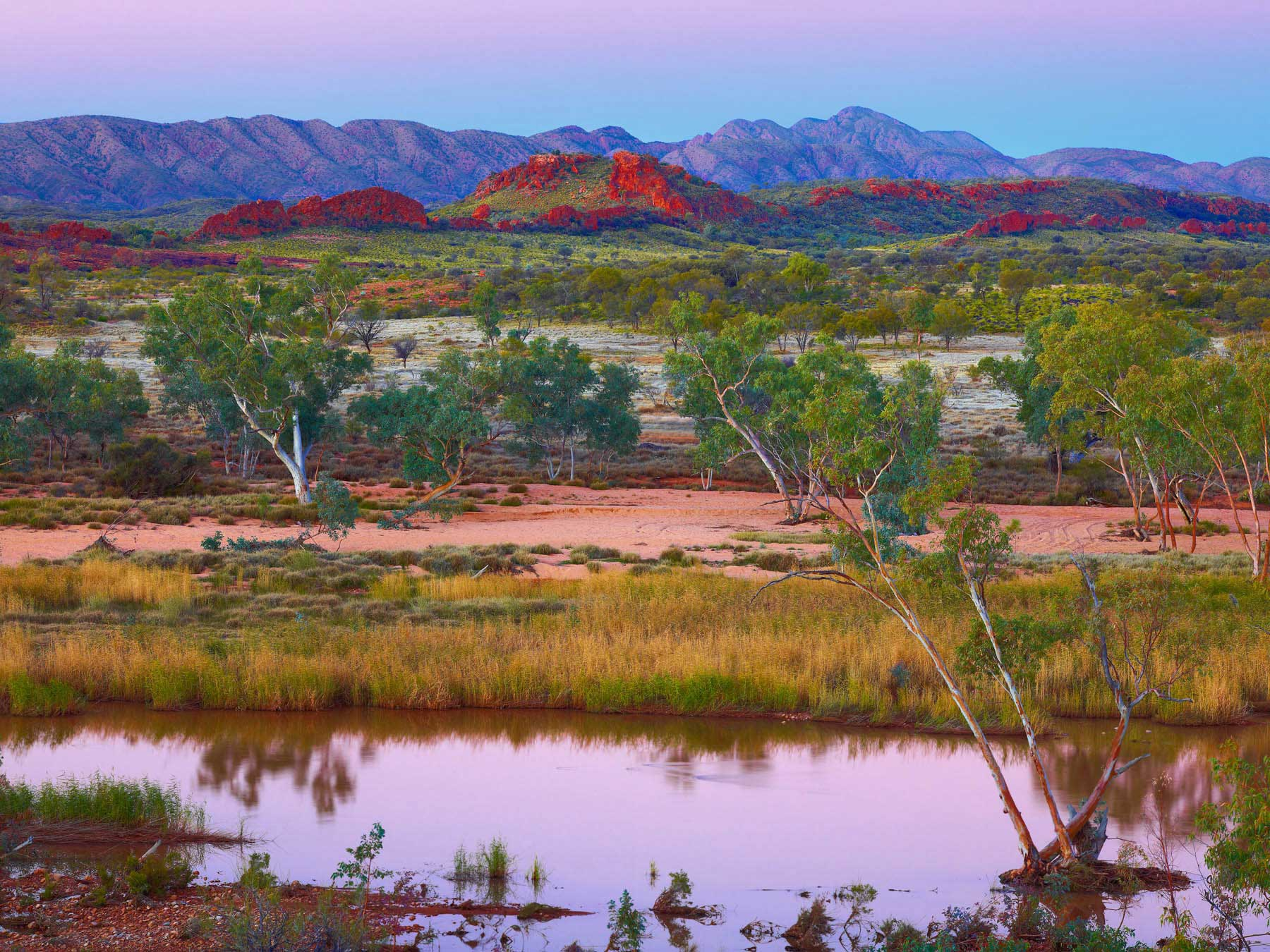 Pastel sunset over the West Macdonnel Ranges, central Australia. NT.
