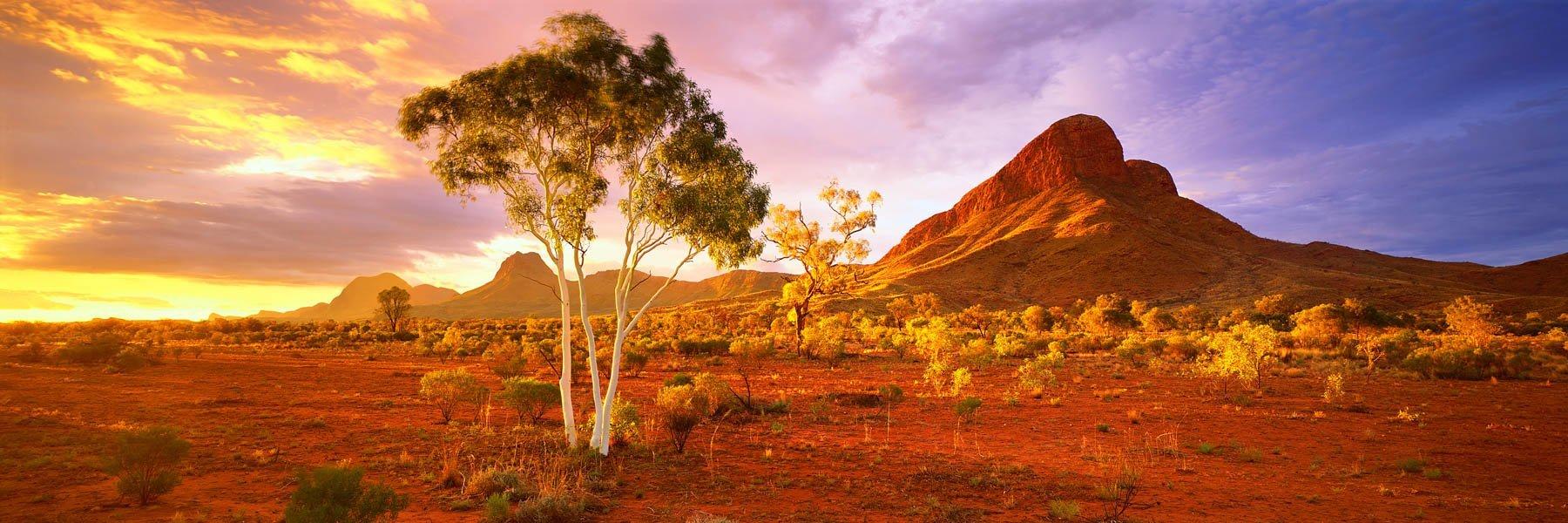 Golden sunset over Haasts Bluff, NT, Australia.