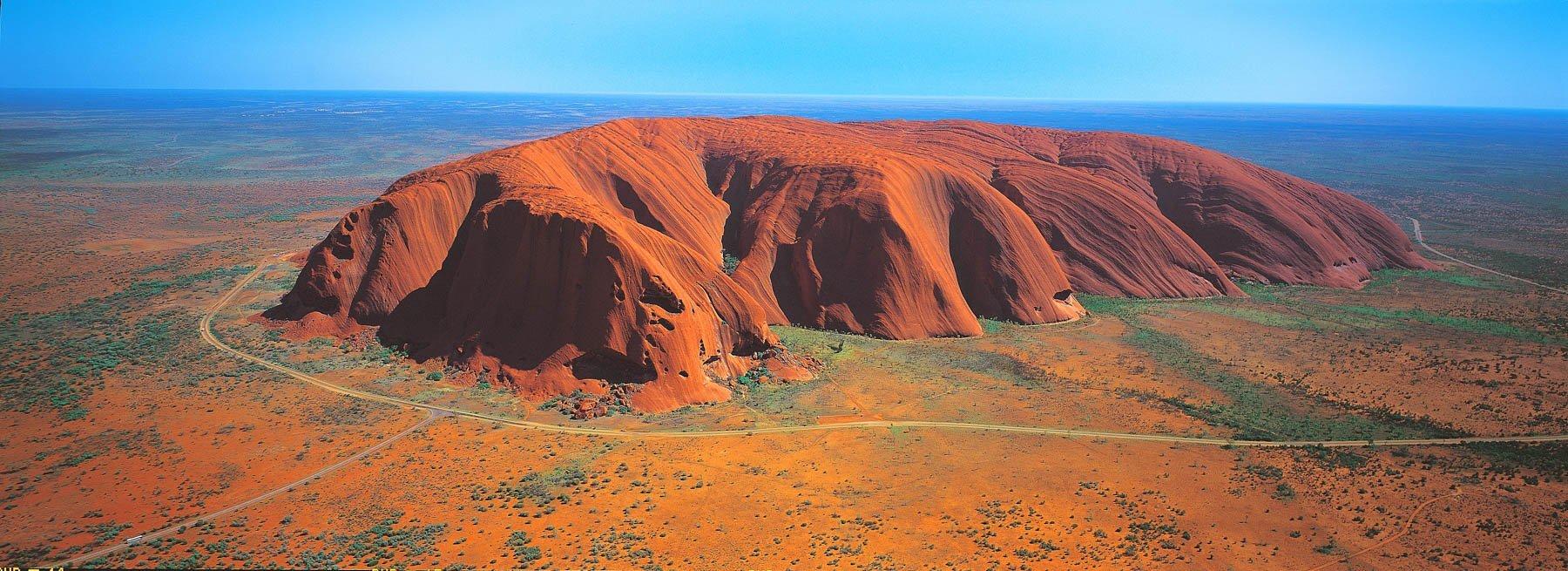 An aerial view of Uluru, NT, Australia.