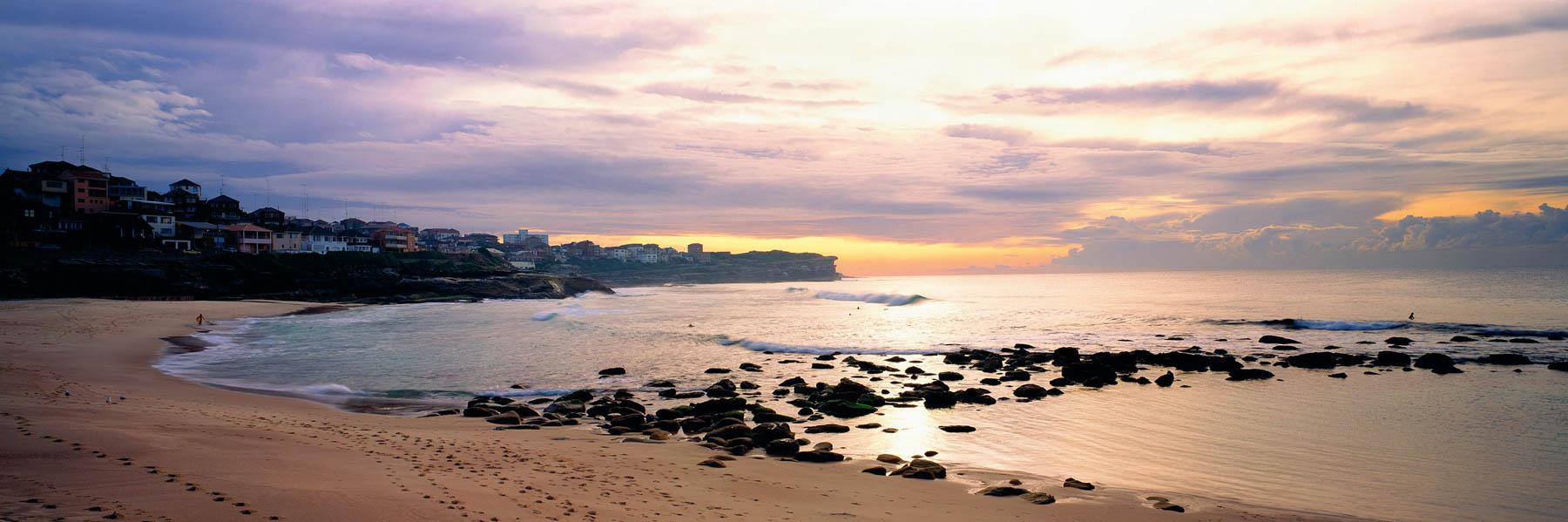 A pastel sunrise over Bronte Beach, Sydney, NSW, Australia.