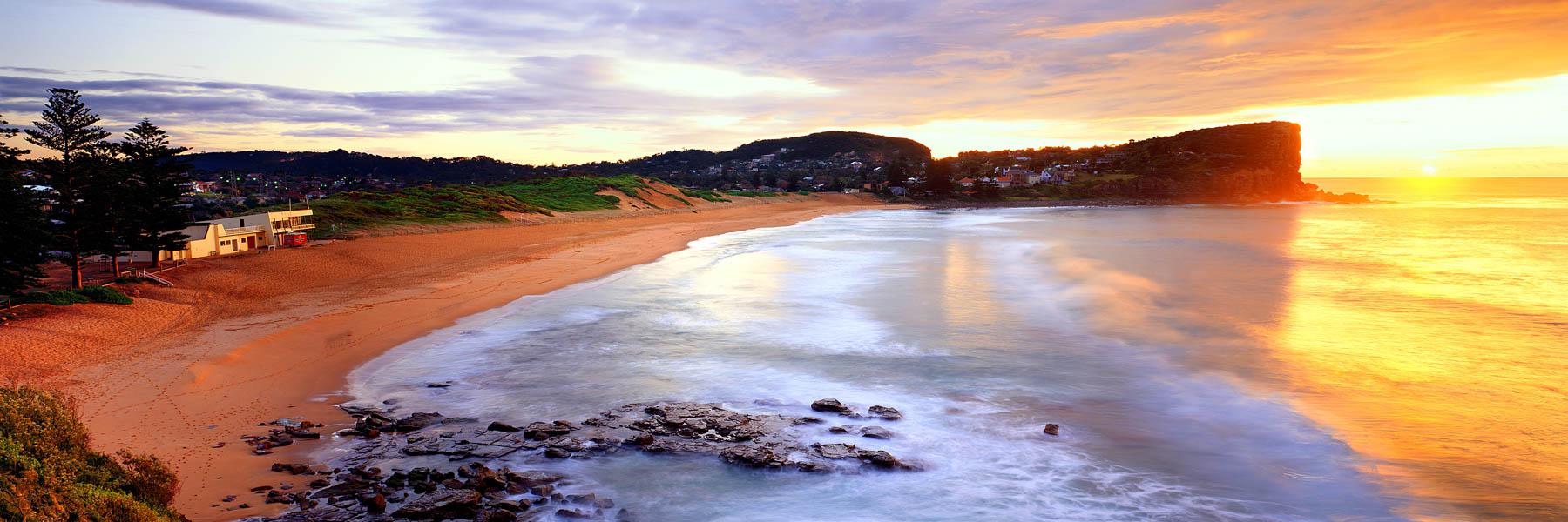 A golden sunrise over Avalon Beach, NSW, Australia.