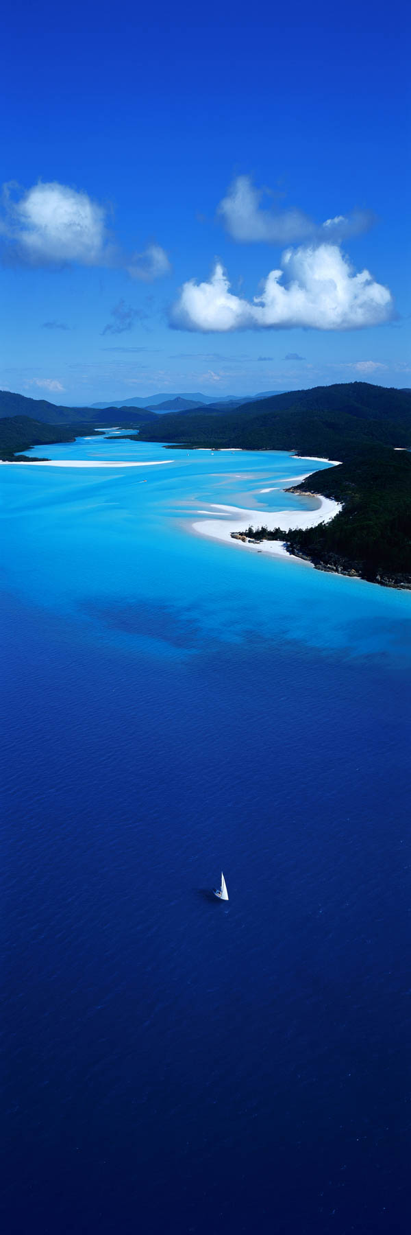 A bright, aerial view of Hill Inlet, Whitsundays, Qld, Australia.