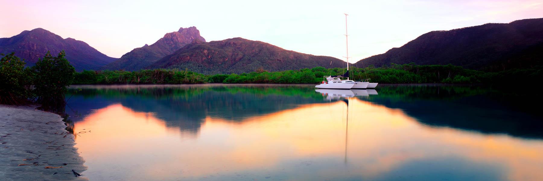 A yacht moored near Hinchinbrook Island, Qld, Australia.