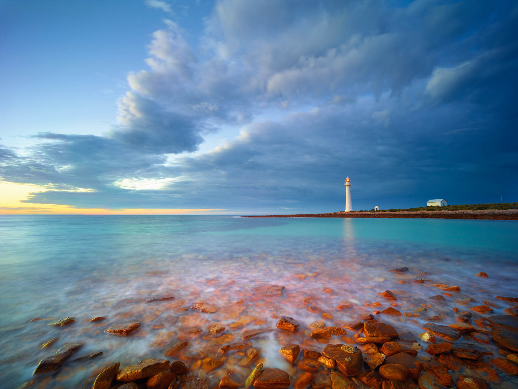 Point Lowly Lighthouse at sunrise, Spencer Gulf, SA, Australia.