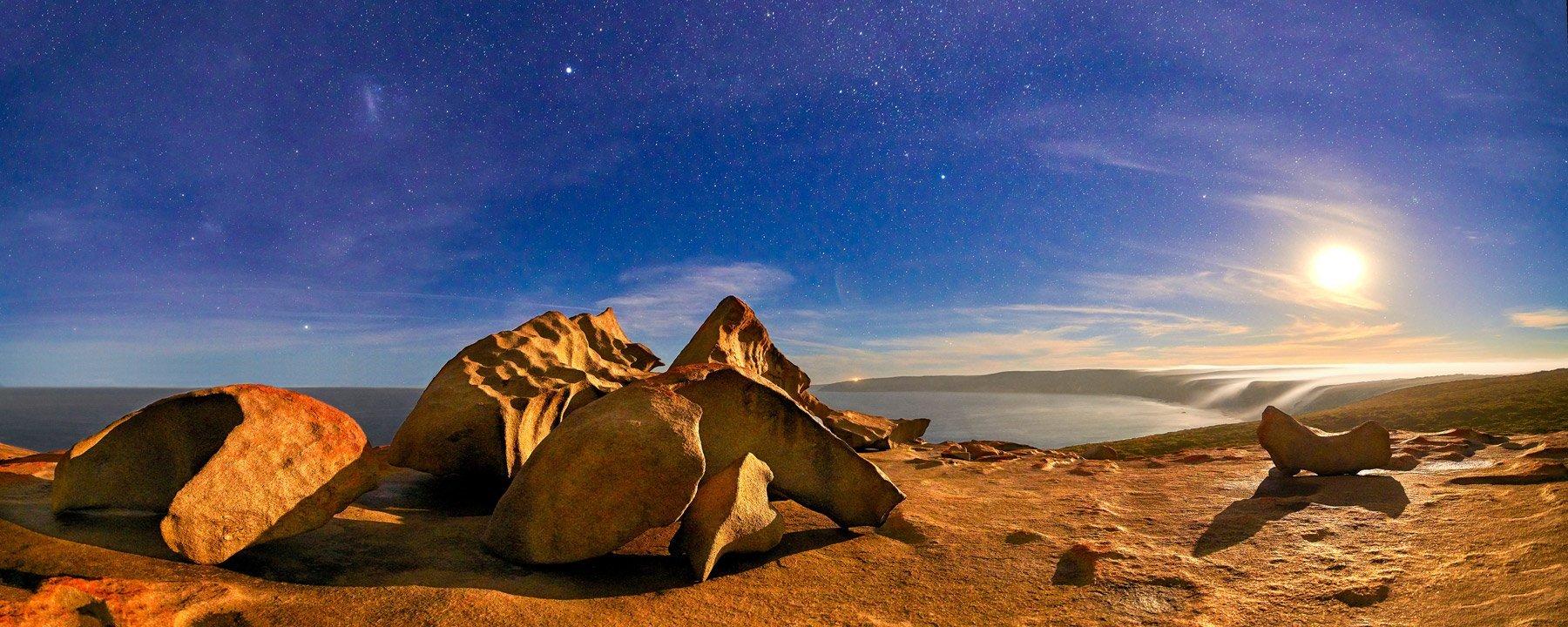 A full moon rising over Remarkable Rocks, SA, Australia.