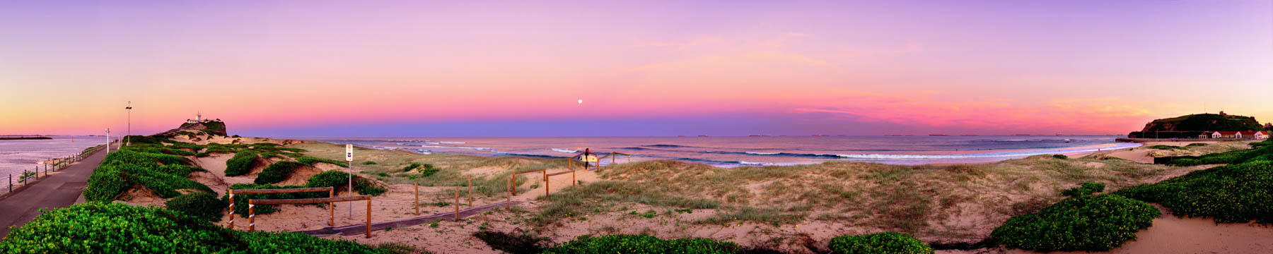 Full moon rising over Nobby's Neach, Newcastle, NSW, Australia.