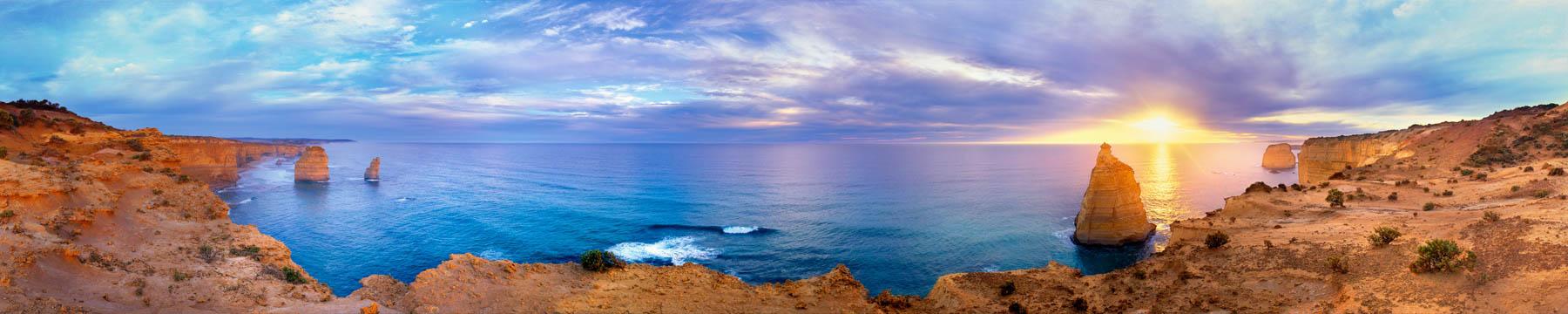 A 240 degree view of The Twelve Apostles at sunset, Vicroria, Australia.