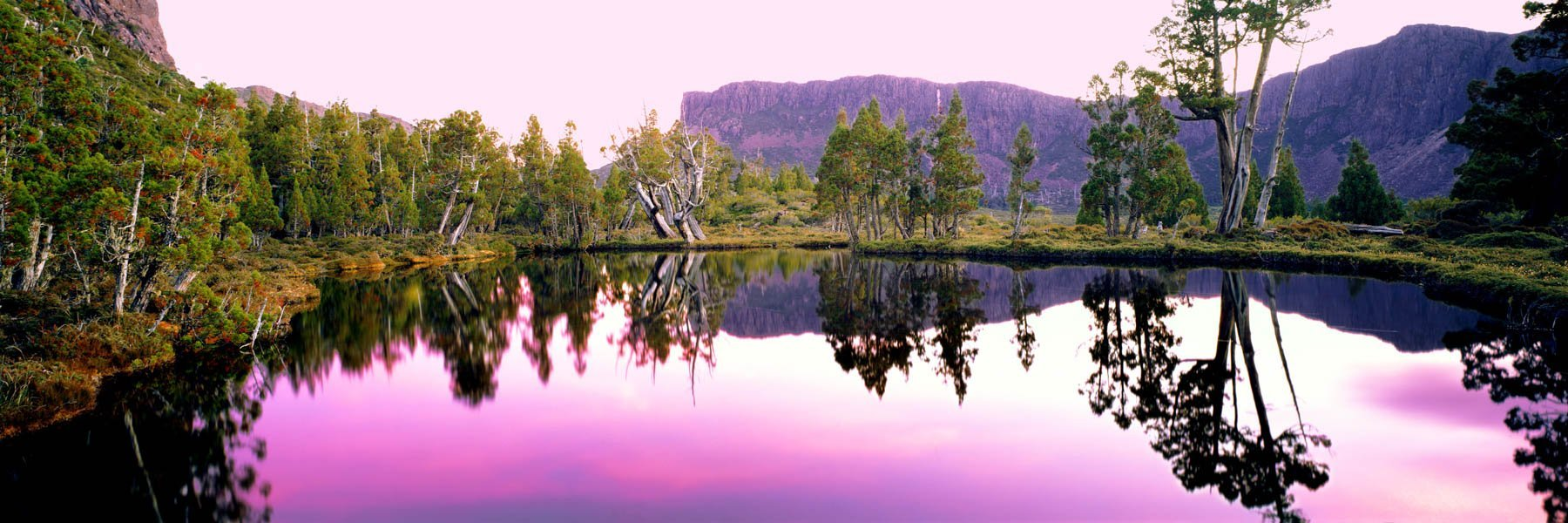 Sunset over a mountain lake, Walls of Jerusalem National Park, Tasmania, Australia.