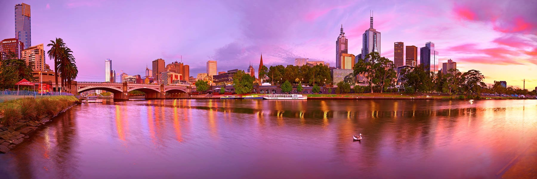 A rich pastel sunrise over the city of Melbourne, Australia.